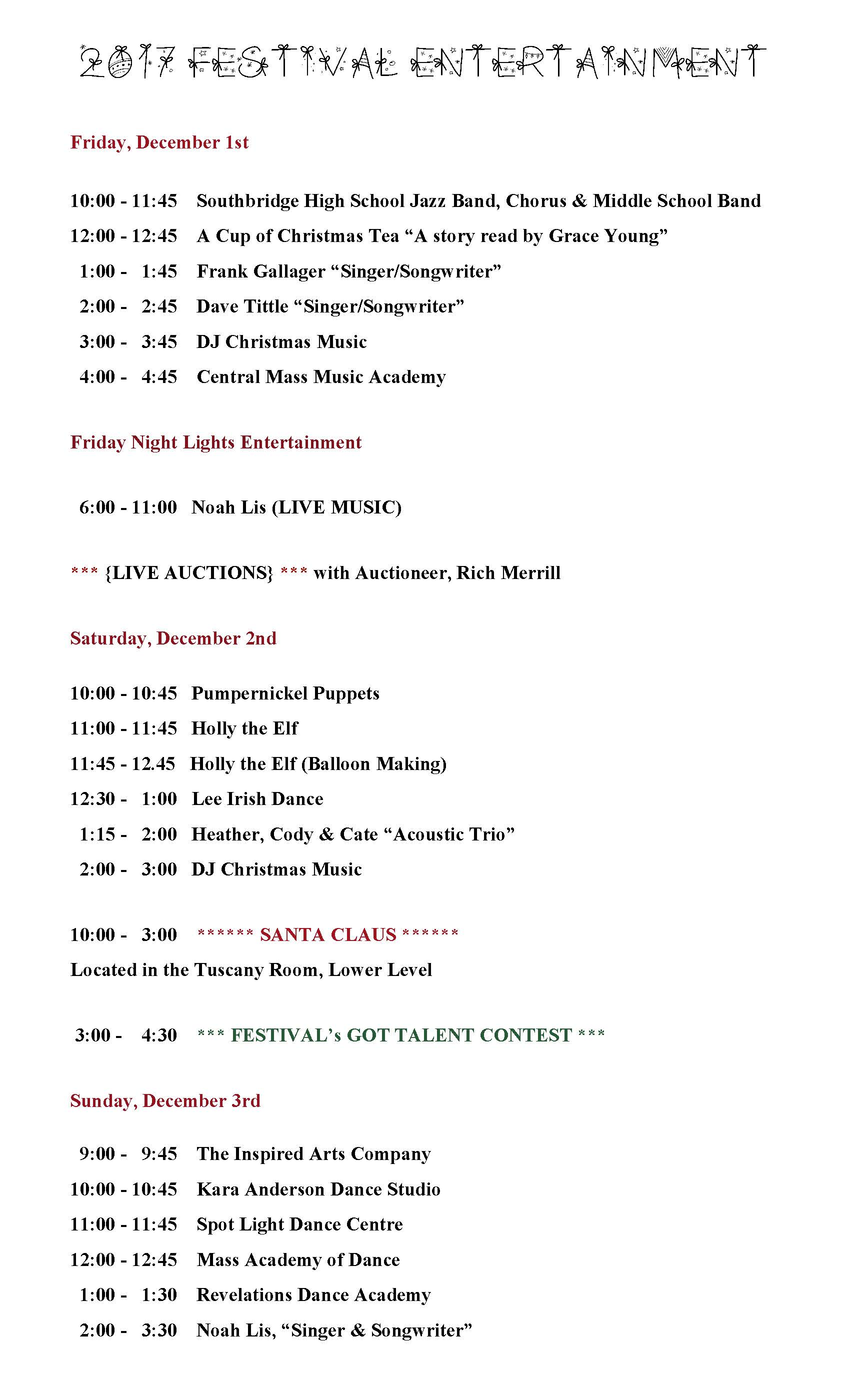 Festival Entertainment 2017  
