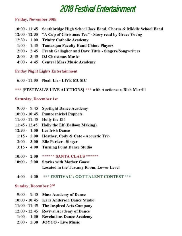 2018 Entertainment Schedule