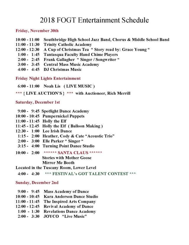 2018 Entertainment Schedule 11-29-2